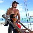 Romantic couple resting at Maldives seaside — Stock Video