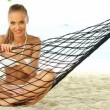 Woman enjoying the peace of a tropical beach — Stock Video