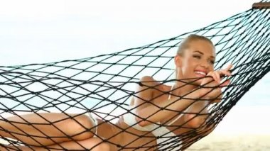 Beautiful woman in hammock — Stock Video