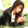 Beautiful business woman relaxing on grass with laptop — Stock Video #12892985