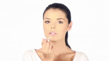 Portrait of cute girl, she is doing morning makeupPortrait of cute girl, she is doing morning makeup — Stock Video