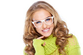 Woman in green warm sweater and white glasses — Stock Photo