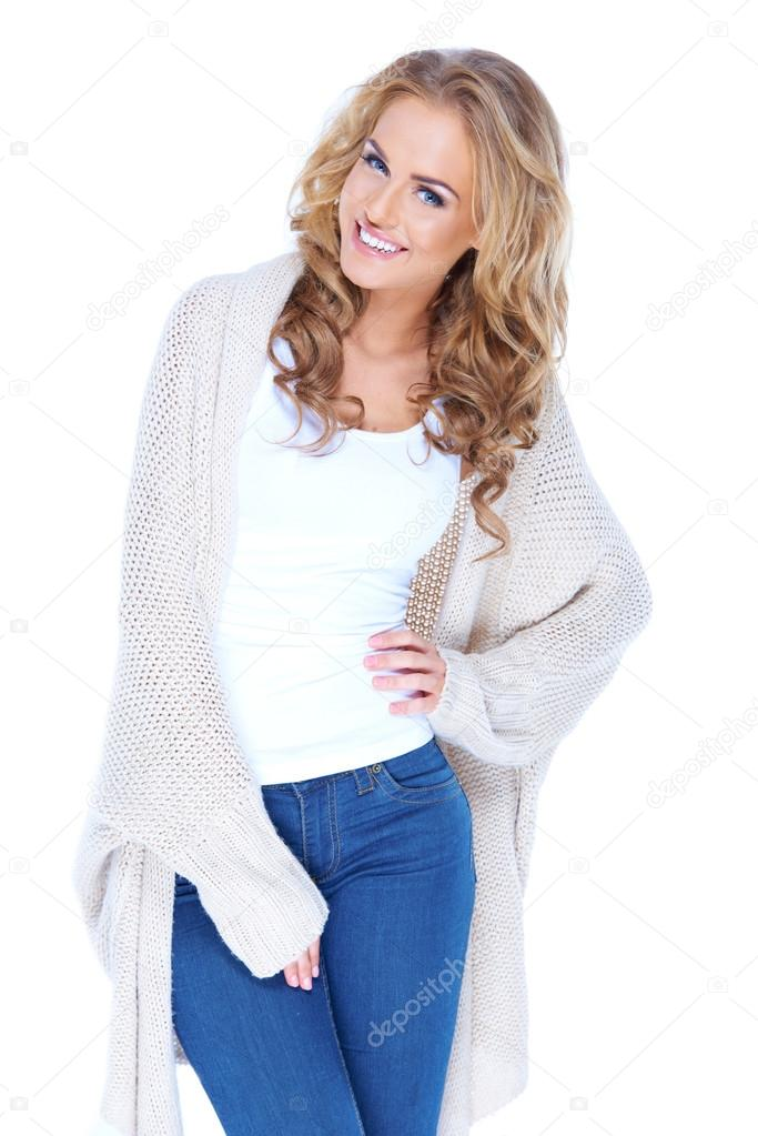 Casual dressed sexy woman with beautiful smile isolated — Stock Photo #13879350