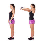 Woman working with dumbbells — Foto Stock