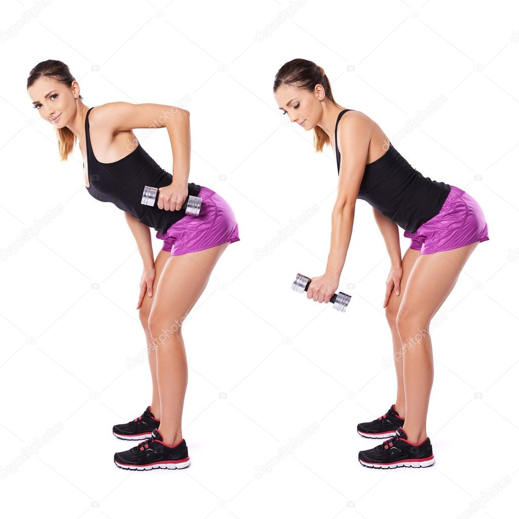Woman working out with dumbbells shown in two positions bending forwards flexing and extending her arm — Stock Photo #18515031