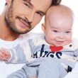 Closeup portait of a father and baby — Stock Photo