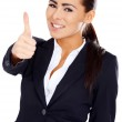Business woman showing thumb up gesture — Stock Photo
