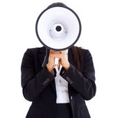 Woman holding big megaphone in front of her face — Stock Photo