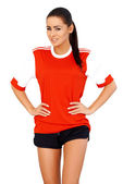 Sporty girl in red shirt — Stock Photo