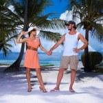 Couple nex to Palm tree — Stock Photo #3014102