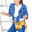 Stock Photo: DIY handy womat her wits end