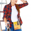 Stock Photo: Worried DIY handy woman