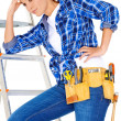 Stock Photo: Young DIY handy womwith problem