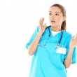 Pretty young nurse is worried — Stock Photo