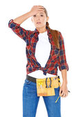 DIY handy woman with a dazed expression — Stock Photo