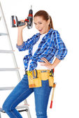 Confident happy DIY handy woman — Stock Photo