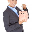 Successful happy woman saving her money — Stock Photo