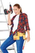 Confident happy DIY handy woman — Stock Photo
