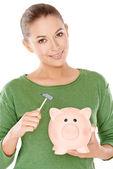 彼女の貯金を開くを見つめる女性 — ストック写真