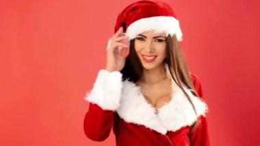 Girl in Santa Claus Costume Sending Sweet Kisses — Stock Video