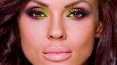 Sexy Face of Adorable Woman — Stock Video