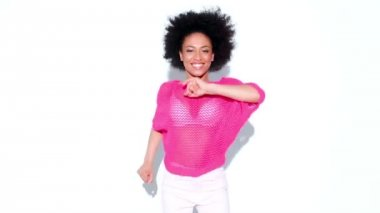 Woman in a stylish pink top Dancing — Stock Video
