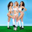 Three beautiful sexy women soccer players — Stock Photo