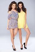 Two vivacious beautiful young women — Stock Photo