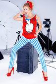Trendy woman in a photo shoot — Foto de Stock