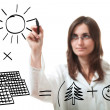 Young woman shows solar project — Stock Photo