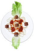 Sausage with spaghetti — Stock Photo