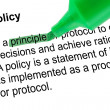 Highlighted word principle with green pen — Stock Photo