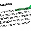 Stock Photo: Highlighted word knowledge with green pen