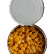 Opened cans of corn. Iron packaging. — Stock Photo