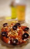 Napolitan spaghetti with ketchup and mushrooms — Stock Photo