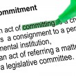 Highlighted word committing for Commitment with green pen. — Stock Photo #40214339