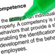 Stock Photo: Highlighted word ability for Competence with green pen