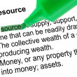Stock Photo: Highlighted word source for Resource with green pen over white.