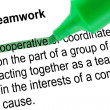 Highlighted word cooperative for Teamwork with green pen. — Stock Photo #40214891