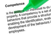 Highlighted word ability for Competence with green pen — Stock Photo