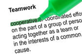 Highlighted word cooperative for Teamwork with green pen. — Stock Photo
