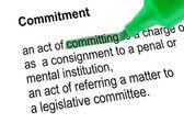 強調表示された単語の緑のペンで通信活動 — ストック写真