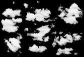 Set of isolated clouds over black. — Foto Stock