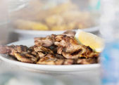 Bulgarian specialty meat steak with lemon — Stock Photo