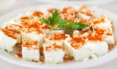 Original bulgarian cheese into plate with parsley and red hot pe — Stock Photo