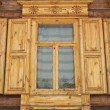 One window of old wooden house — Stock Photo