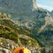 Orange camping tent in beautiful mountains.  National park Durmi — Stock Photo