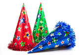 Three party hats isolated — Stock Photo