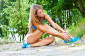 Sporty and attractive woman do fitness exercise — Fotografia Stock