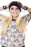 Beautiful woman in warm clothing closeup portrait — Stock Photo